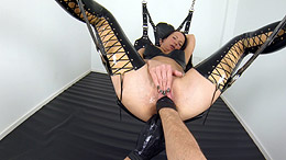 Vaginal fisting and stretching in sling
